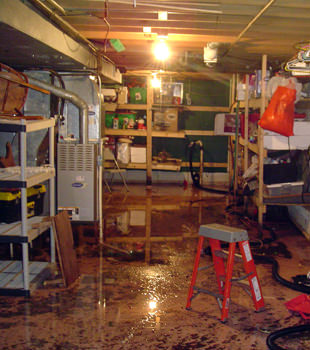 a flooded home in Golf